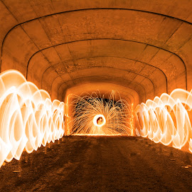 Tunnel of Fire by Mark Schneider - Abstract Light Painting ( light painting, steel wool, steelwool, long exposure, sparks, fire, tunnel )