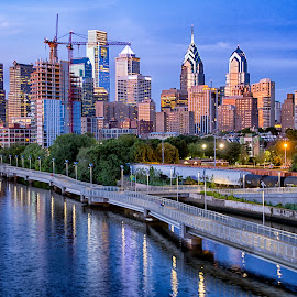 Skyline of Philadelphia at Dusk by Carol Ward - City,  Street & Park  Skylines ( schuylkill river, night photography, philly, south street bridge, philadelphia, nightscape )