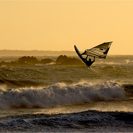Windsurfer jump by Charl Bence - Sports & Fitness Watersports ( sunset, sport, sea, jump, windsurfing )