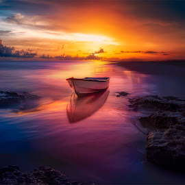 Silence by John Georgiou - Landscapes Sunsets & Sunrises ( dreamy, reflection, single, colorful, shining, ocean, beauty, travel, beach )