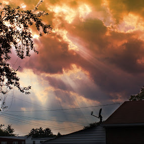 Jesus Clouds by Steph Doyle - Landscapes Cloud Formations ( sun beams trees clouds )