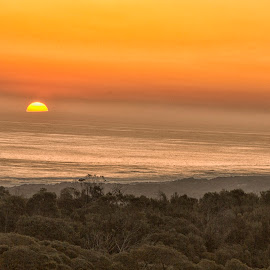 Sunset at Cape Schank by Susan Marshall - Landscapes Sunsets & Sunrises ( orange, sunset, sea, ocean, sun,  )