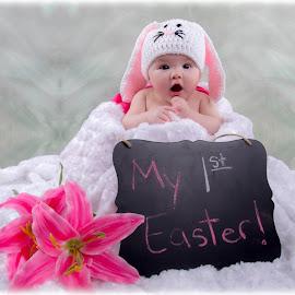 First Easter by Melissa Culp - Babies & Children Babies ( firsteaster, littleemma, easter, bunny, emma )