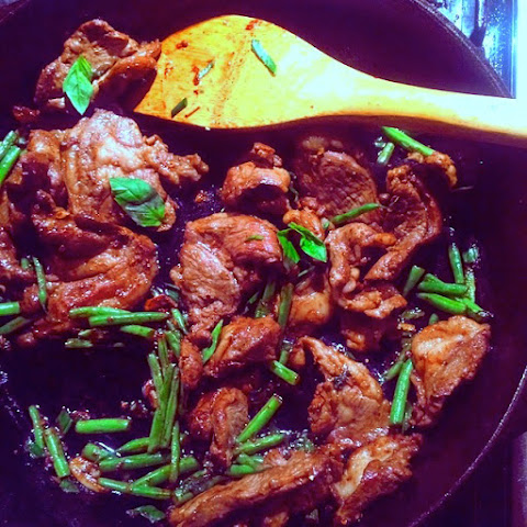 Spicy Lamb with Green Beans, Thai Basil, and Scallions