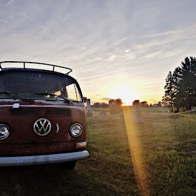 Summer sadness by Chelsea Mason - Transportation Automobiles ( classic, michigan, sunset, volkswagen, cemetery )