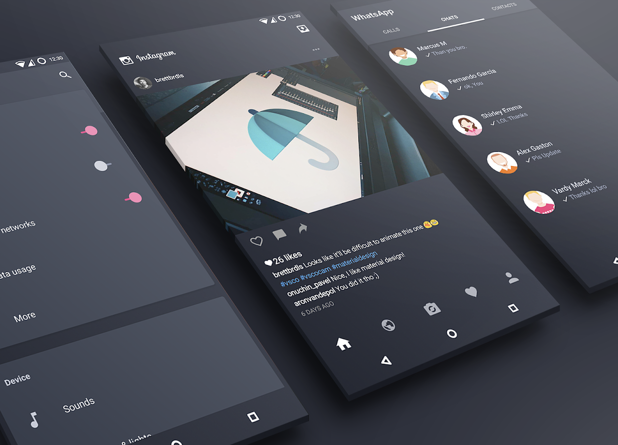 MaterialUp theme Dark! CM12 13 Screenshot 1