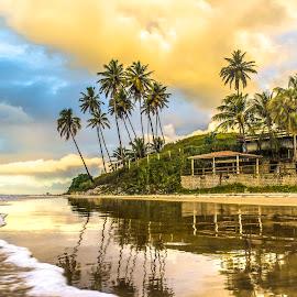 Evening Time ..  by Rqserra Henrique - Landscapes Beaches ( clouds, brazil, reflection, coconut, natal, rqserra, reflections, beach )