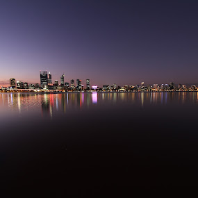 Early Evening Reflections of Perth by Tony Burnard - City,  Street & Park  Night ( city scape, water, lights, perth city, reflections, low light, evening, river, city at night, street at night, park at night, nightlife, night life, nighttime in the city )