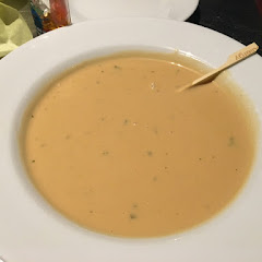 Creamy Lobster Soup.  Perfect temperature and delicious!  2/2016