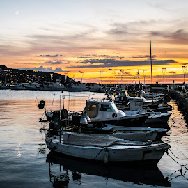 Marina by Simon Olup - Landscapes Travel ( lights, clouds, sky, sunset, boats, sea, summer, marina, transportation, evening )