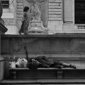 On His Head by VAM Photography - Black & White Street & Candid ( homeless man, girl, b&w, nyc, places, street photography,  )