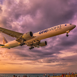 landing time by Kitty Bern - Transportation Airplanes ( sunset, airplane, thailand, beach, phuket )