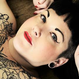 Tattoo Beauty by Vix Paine - People Body Art/Tattoos ( body, blueeyes, girl, woman, tattoos, body art, tattoo, women, girlswithink, eyes, bodyart )