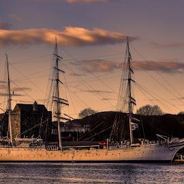 Statsraad Lehmkuhl by Terje Sandø - Transportation Boats ( bergen, statsraad lehmkuhl, ship, boat, goldenhour )