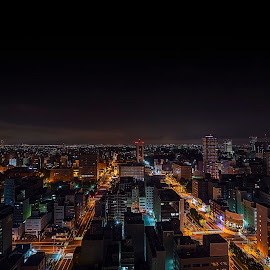 Night view of Sapporo city by Crispin Lee - City,  Street & Park  Night