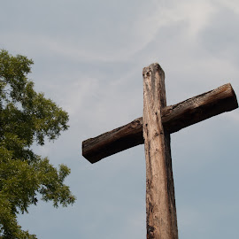 Wooden Cross by Gwyn Goodrow - Buildings & Architecture Places of Worship ( religion, sky, christianity, tree, wood, outdoors, church artwork, cross,  )