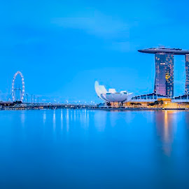 The Lion city along the water by Binoy Uthup - City,  Street & Park  Skylines ( marinabaysingapore, hdr, night lights, waterscape, cityscape, singapore, city, nightscape, night view, night photography, marinabaysnads, hdrphotography, night shot, marinabay )