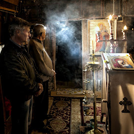 The religious ceremony of Prohod  by Grigore Roibu - People Portraits of Men ( easter2015, icon, altar, wood, indoor, church, orthodox, traditional, ceremony, people, rural, candle, smog, light, culture, man, religious )