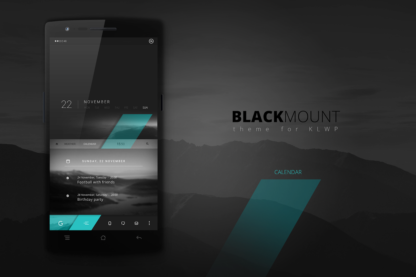 Blackmount theme for KLWP Screenshot 2