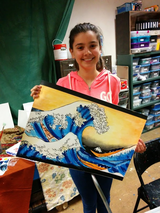 Pen and Watercolor interpretation of Hokusai's famous wave