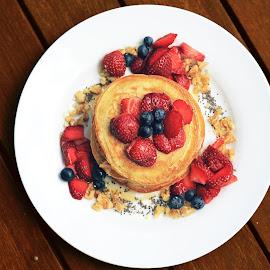 vegan pancakes by Michael Karakinos - Food & Drink Plated Food ( vegan, breakfast, fruits, pancakes )
