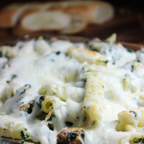 Spinach Dip Chicken Pasta Bake