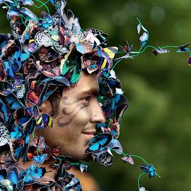 Butterflies in my head by Daliana Pacuraru - People Portraits of Men ( daliana pacuraru, butterflies, entertainment, entertainer, portrait )