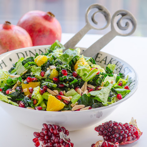 Winter Fruit Kale Salad with Orange Ginger Dressing