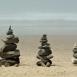 Oregon Beach Cairns by Kurt Bailey - Landscapes Beaches (  )