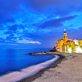 Italy, Camogli. by Felice Bellini - Landscapes Beaches ( mood, bulbs, awareness, charity, lighting, blue, liguria, camogli, serenity, genova, tokina, italy, light, canon 550d, relax, tranquil, relaxing, tranquility )