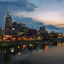 Nashville Skyline by Bob Ellis - Buildings & Architecture Public & Historical ( riverfront, nashville, skylines, cityscape, architecture, travel, nightscape )