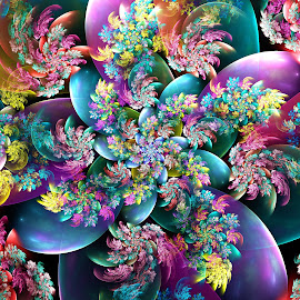 Blooming Bubbles by Peggi Wolfe - Illustration Abstract & Patterns ( abstract, wolfepaw, gift, unique, bright, illustration, bloom, fun, digital, blossom, print, décor, bubble, pattern, color, unusual, fractal, flower )