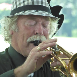 Trumpet player by Vicki Clemerson - People Portraits of Men ( music, concentration, musical instrument, trumpet, man, hat )
