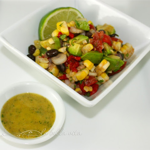 Grill-Roasted Corn, Black Bean and Avocado Salad with Cilantro Vinaigrette