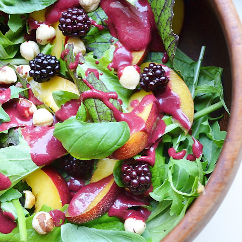 Nectarine Salad with Blackberry Dressing, Basil & Hazelnuts