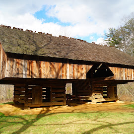 by Beth Collins - Buildings & Architecture Other Exteriors ( cabin, great smoky mountains, park, national, great smoky mountains national park, historic building, smokies, cades cove, historic, history, mountains, cantilever barn, national park, cantilever, barn, autumn, double-cantilever barn, historic site, fall, smoky mountains national park, smoky mountains )