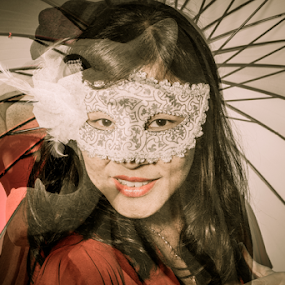 Merlion by Ray Shiu - People Portraits of Women ( person, statue, double exposure, girl, merlion, female, woman, umbrella, mask, people, singapore, human,  )