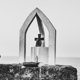 Cross. by Himanshu Vats - Buildings & Architecture Statues & Monuments ( black and white, outdoor, sea, stone, travel, landscape, bnw, close up )