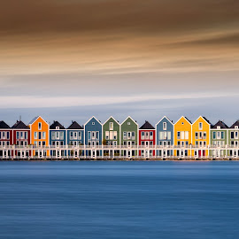 The Houses by Wim Denijs - City,  Street & Park  Skylines ( water, houses, sky, colors, holland, rietdiepplas )