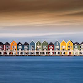 The Houses by Wim Denijs - City,  Street & Park  Skylines ( water, houses, sky, colors, holland, rietdiepplas )