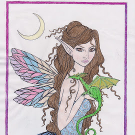 Colorful Fairy.... by Melanie Goins - Drawing All Drawing ( pencils, glitter, dragon, fairy, colorful )