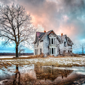 Abandoned Beauty by Trevor Pottelberg - Buildings & Architecture Homes ( clouds )