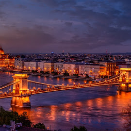 Budapest Panorama by Luis Silva - City,  Street & Park  Skylines ( tripod, golden hour, sunset, panoramic, budapest, long exposure, hungary )
