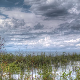 clouds and lake by Fraya Replinger - Landscapes Cloud Formations ( water, clouds, grass, cloudy, lake, beach )