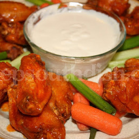 Buffalo Style Hot Wings with Blue Cheese Dipping Sauce