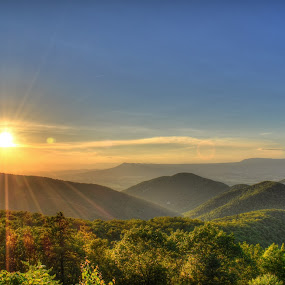 Shenandoah 5 by James Reil - Landscapes Sunsets & Sunrises ( blue ridge mountains, mountains, hdr, virgnia, scenic overlook, sunset, waterfall, shenandoah national park )