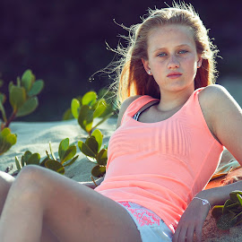 Caitlyn by Phillip Prinsloo - People Fashion ( sand, natural light, model, plants, beach, flowers, light, natural, eyes )