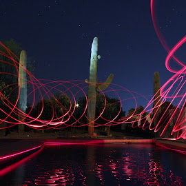 LED by the Pool by Dave Parks - Abstract Light Painting ( led, night )