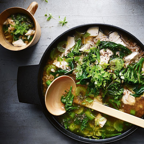 Chicken and Spelt Soup with Greens