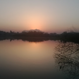 Morning Click by Rajesh Parmar - Nature Up Close Other Natural Objects ( asoj lack, sun rise, nature, pawaghad, tree )